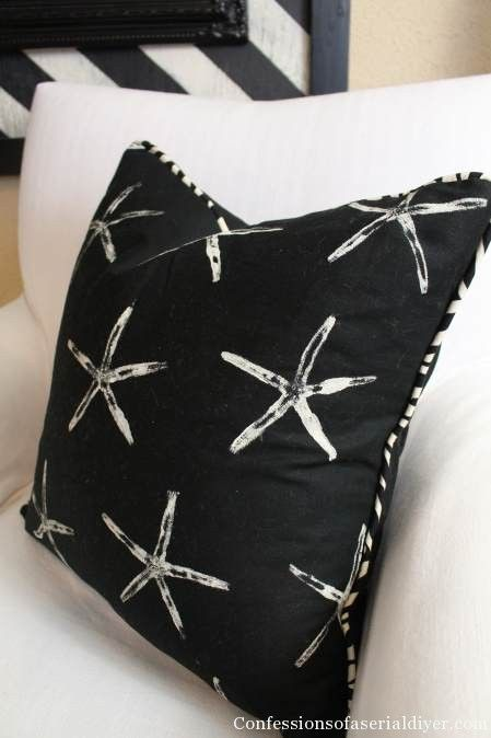 Diy Throw Pillow With Piping : DIY Starfish Stamped Pillow with Piping Sewing/Fabric Pinterest Starfish, Pillows and DIY ...