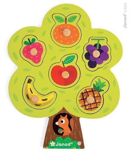 Arbre Gourmand 6 mcx  Puzzle de 6 pièces à tenons en bois.  Chaque pièce représente un fruit : fraise, orange, raisin, ananas, banane, pomme  Dimensions : 22 x 28 x 2.3 cm  #renaudbray #bébé #jouet #cassetete #puzzle
