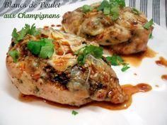 blancs de poulet farcis aux champignons de Choumicha
