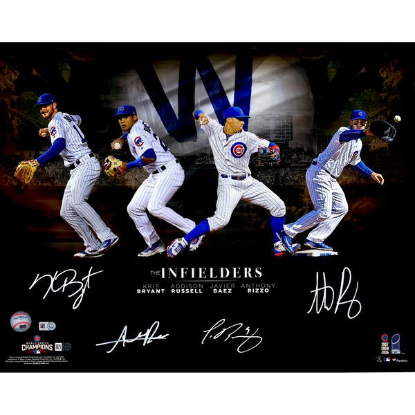 "Kris Bryant, Anthony Rizzo, Javier Baez, Addison Russell Chicago Cubs Fanatics Authentic 2016 MLB World Series Champions Autographed 16"" x 20"" Infielders Collage - Fanatics.com"