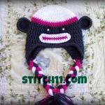 6 Months Sock Monkey Hat