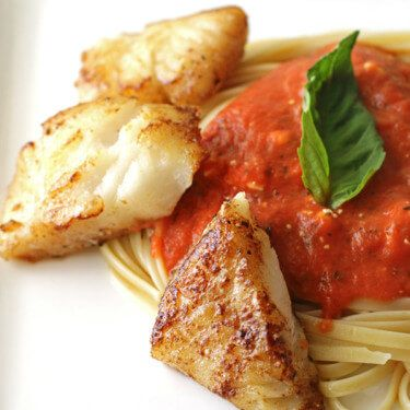 Fettuccine and Creamy Vodka Sauce with Cod