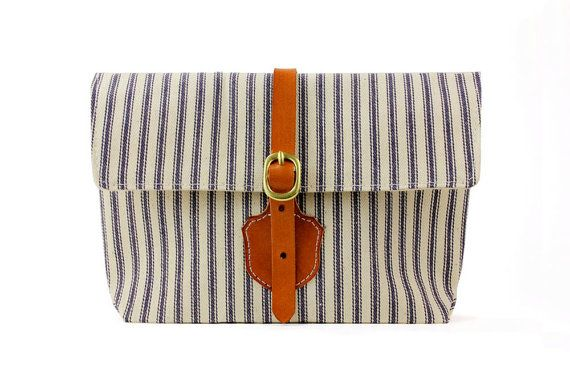 The Shield Clutch in Blue and White striped ticking von DNTX, $48.00
