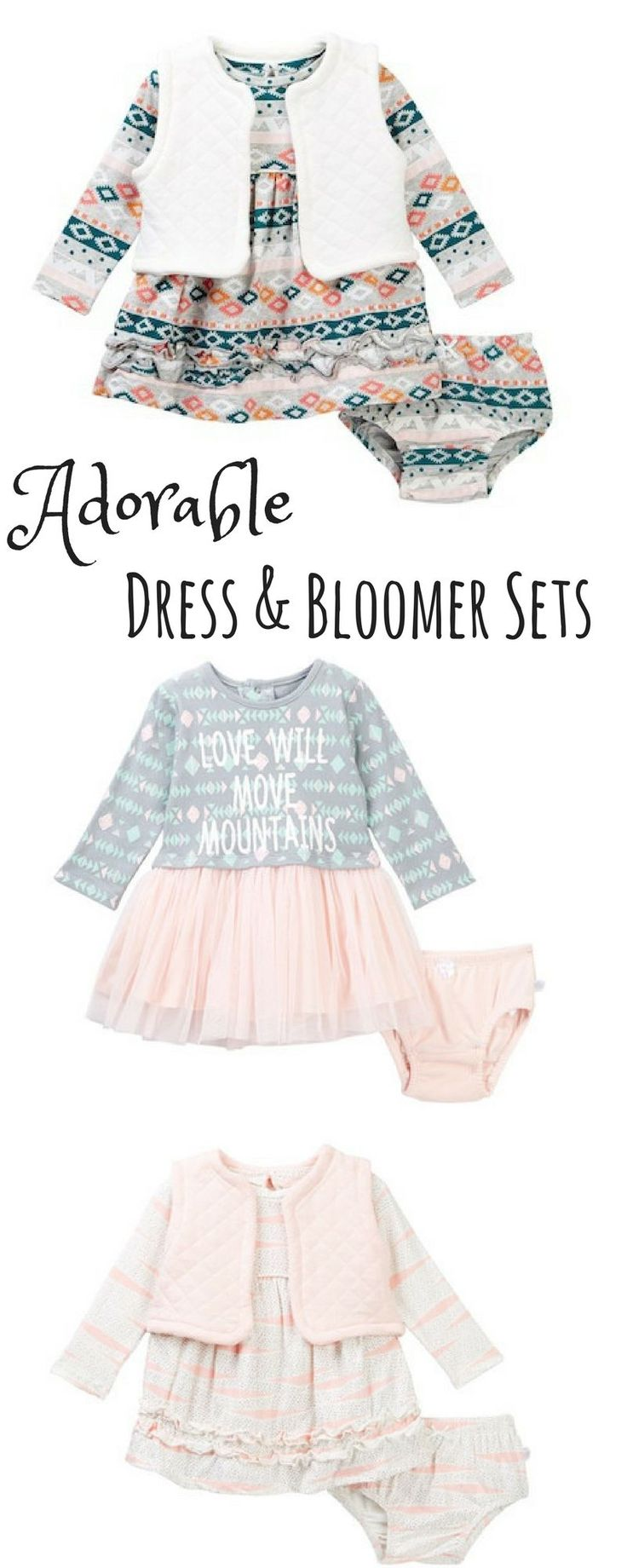 Adorable baby girl dress and bloomer sets.  girls fashion | outfits | clothes | summer | spring | baby | newborn | baby shower gift | style | cute | pink | tutu | afflink