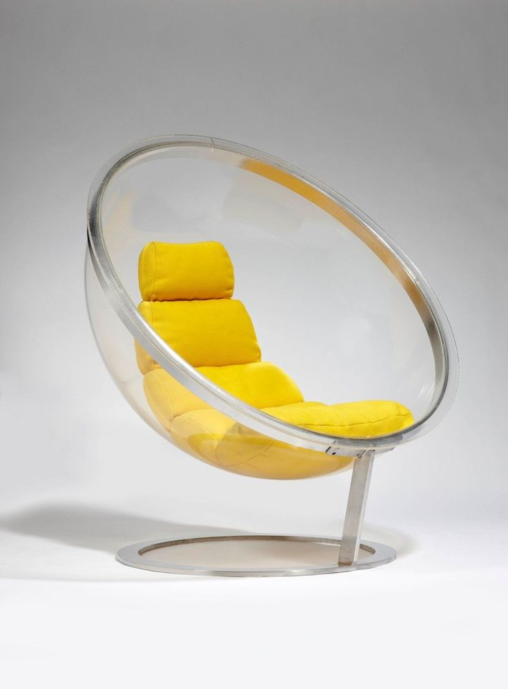 Christian Daninos  // Fauteuil Bulle ; Weren't the 1960s an exciting time for furniture design? So many experiments in new materials! So many fun and futuristic shapes! This one features a segmented yellow vinyl cushion, set within a transparent Altuglas acrylic bubble form, edged and supported by polished stainless steel rings.