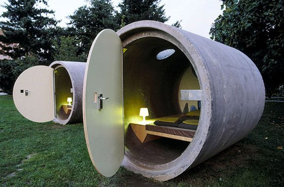 Another cement drain pipe hotel.  Dasparkhotel, Bottrop-Ebel And Ottensheim, Austria.