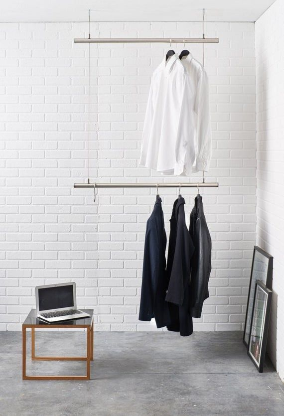 Hanging Clothes Rack Ceiling Mounted Design Clothes Rail In Stainless Steel Adjustable In Hight In 2020 Hanging Clothes Racks Hanging Clothes Clothing Rack