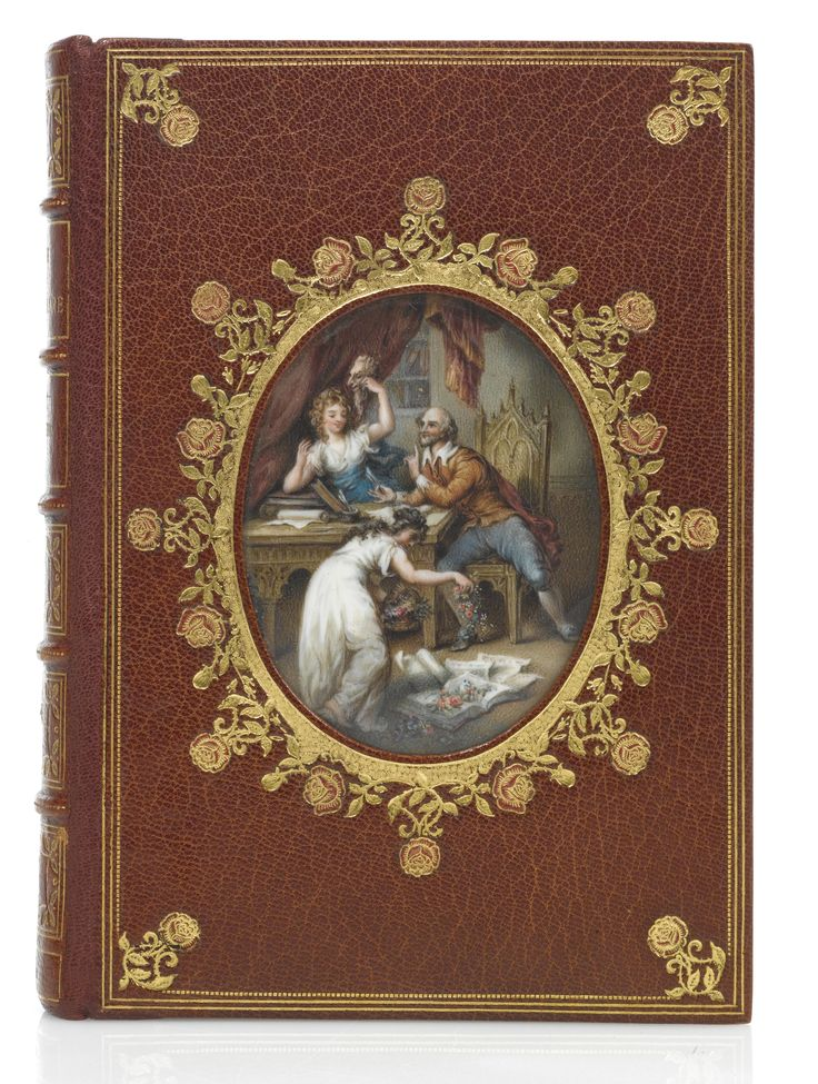 Lee, Sidney A Cosway binding by Rivière & Son with a whimsical miniature painting on ivory by C. B. Currie. Crushed brown morocco, the covers gilt with a frame of two fillets, a dotted line, and rose-tool cornerpieces with red morocco onlays, the front cover inset with a fine central oval miniature painting of Shakespeare in his study with the muses of Comedy and Tragedy, surrounded by a gilt foliate frame with rose tools finished with red morocco onlays