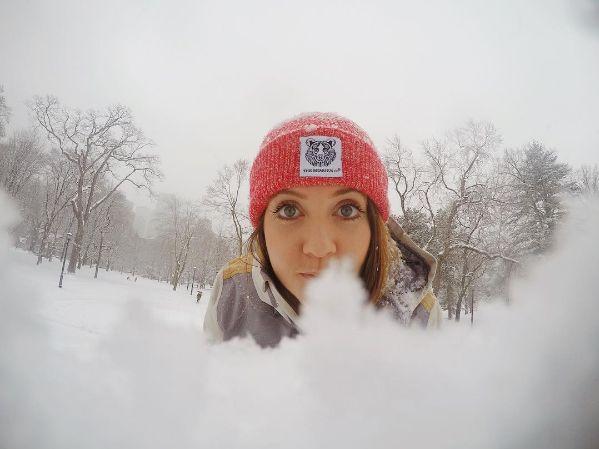 Beanie wearing bearhugger in the snow #beanie #thebearhugco #lukedixon