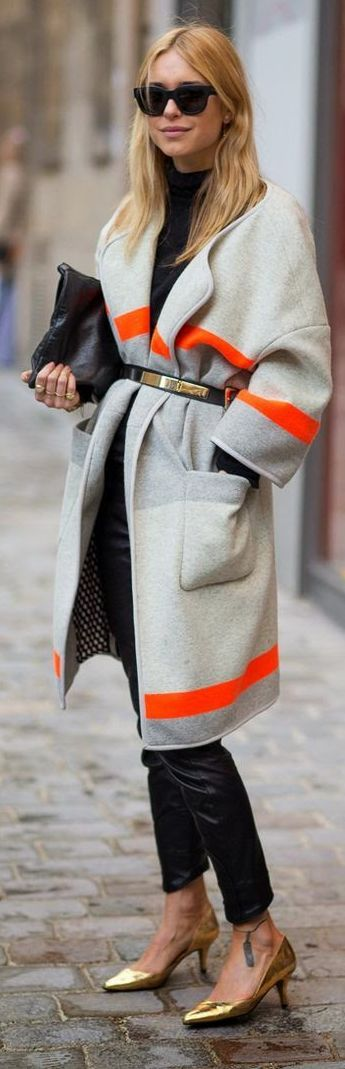 Grey Neon Stripe Free Spirited Coat