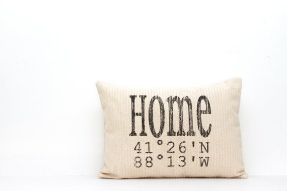 """mother's day gift, personalized pillow, longitude and latitude pillow, map pillow, housewarming gift, wedding gift, gift for her, """"The Home"""" on Etsy, $30.00"""