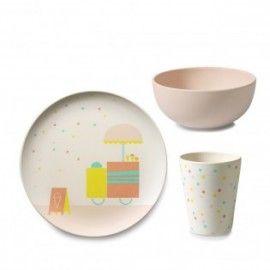 """Set vaisselle en bambou """"ice cream"""" - Assiette, Bol, Gobelet"""