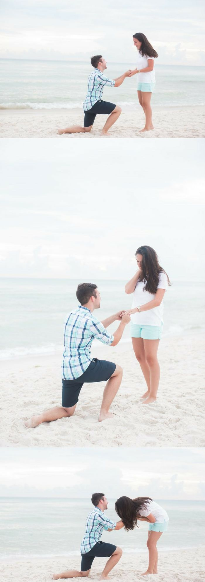 When he got on one knee, she couldn't believe what was happening! It was such an adorable beach proposal.