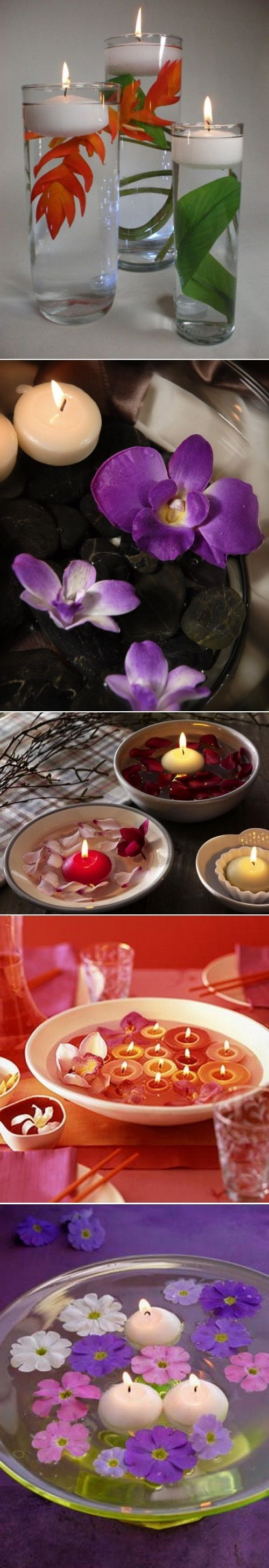 DIY Floating Flowers And Candles Centerpieces - vma.