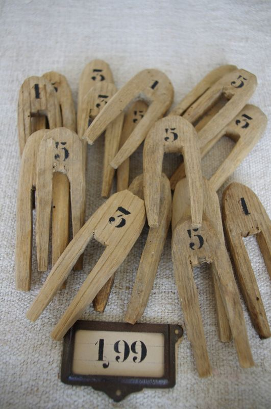 Vintage wooden numbered clothespins