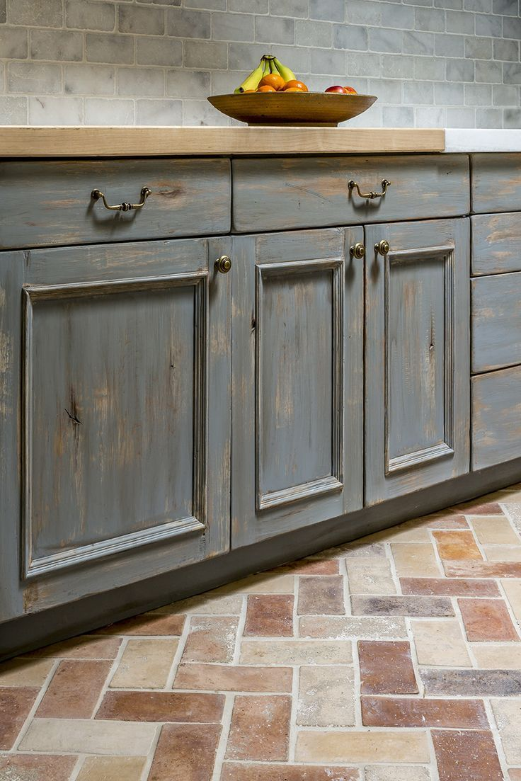 Laundry Room Design With Blue Grey Wash Cabinetry Butcher Block Countertops Tumbled White Marble Ba Butcher Block Countertops Brick Floor Kitchen Countertops