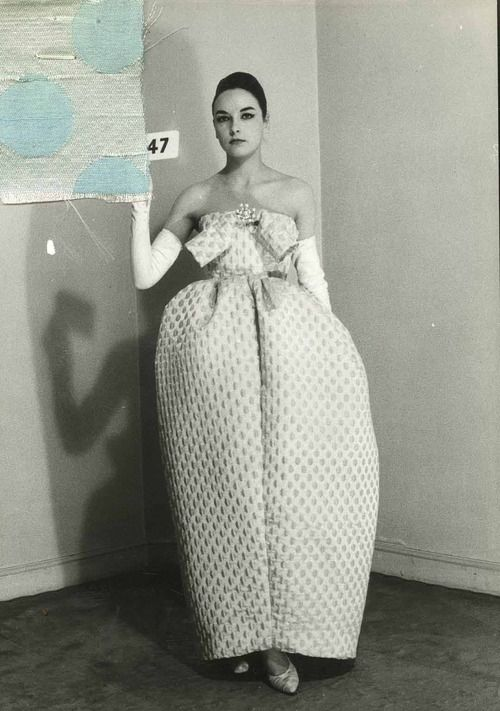 Amphora dress by Cristobal Balenciaga Summer 1959; Spanish fashion designer and the founder of the Balenciaga fashion house