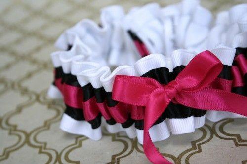 Black and Hot Pink Wedding Garter