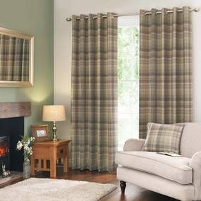 Finley Check Green Thermal Eyelet Curtains