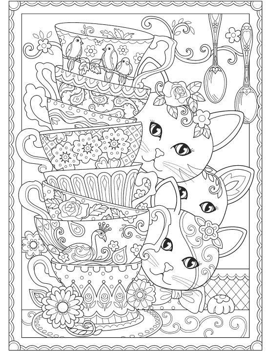 Классные раскраски «Кошки с посудой», которые вы можете ...