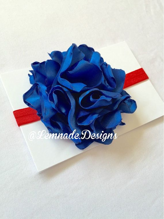 Red and Blue satin flower headband by LemnadeDesigns on Etsy