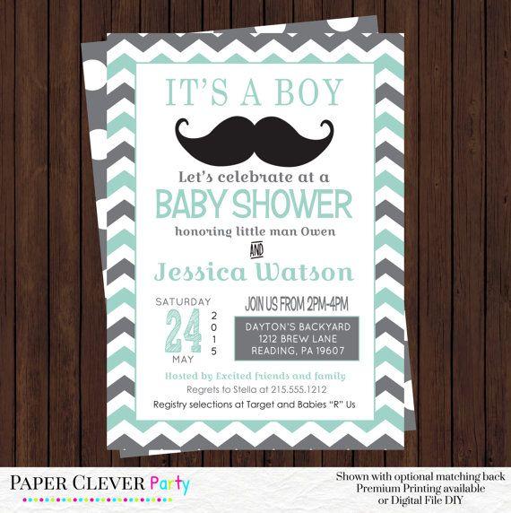 Little Man Baby Shower Invitation -- Mint Grey Chevron Invite -- Invitation Baby Boy - Retro Mustache Baby Party Printable or Printed