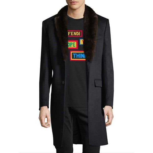 Fendi Men's Notch Wool Coat with Dyed Mink Fur Trim - Dark Blue/Navy,... ($2,999) ❤ liked on Polyvore featuring men's fashion, men's clothing, men's outerwear, men's coats, mens coats, mens fur collar coat, mens navy coat and mens wool coat