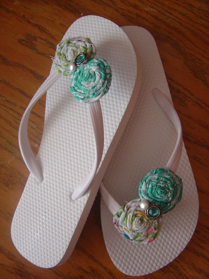 13b117322a4b5 ... sandals wedding  made to match for a bride her bridal party. The  rosettes could be made match ...