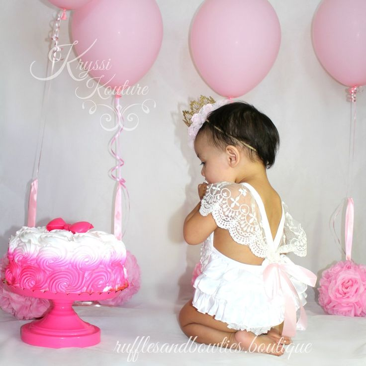 Amy White Vintage Lace 6 Month & First Birthday White Ruffle Romper - Smash Cake Romper - Baby White Lace V Back Romper - Baby Girl - Ruffles & Bowties Bowtique - 4