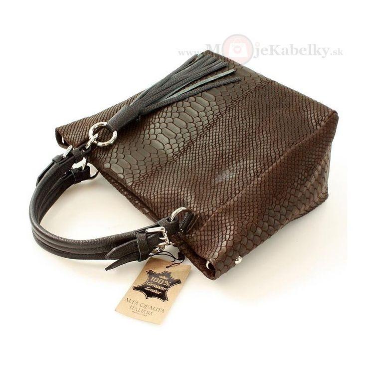 Kožená kabelka Mazzini hnedá koža - MK-VE-21771