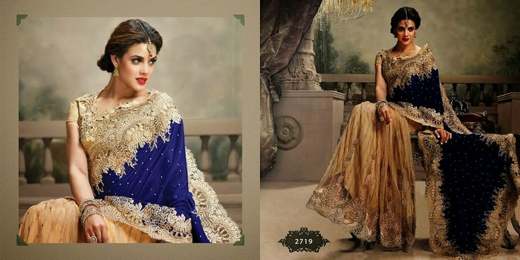 Very beautiful Wedding saree. Golden and Blue Colored Velvet with beautiful heavy embroidery work Pallu. Along with Contrast Matching Netted Skirt and Embroidered Blouse
