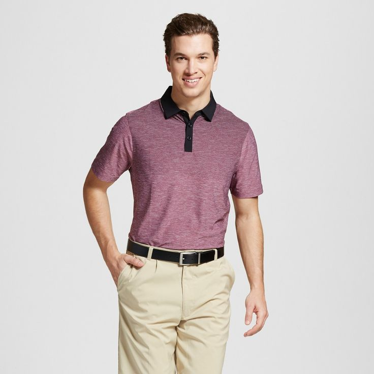 Men's Printed Golf Polo Charcoal Heather Xxl - C9 Champion, Size: Small, Bordeaux Red Heather