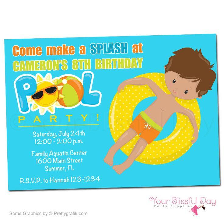 kid pool party invitation