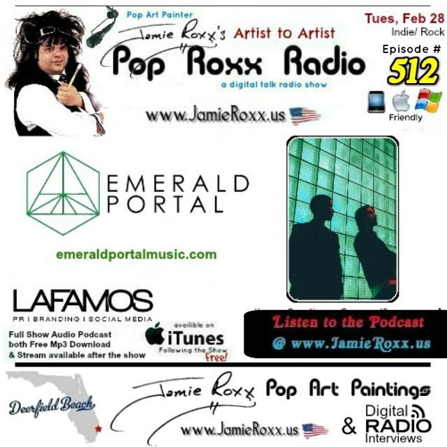 📣 Tonight's Episode (#512) of the Pop Roxx Radio Talk Show with featured Guests: Emerald Portal (#Indie / #Rock) Has now been converted to a Podcast and is now archived on my website (www.JamieRoxx.us), BlogTalkRadio (http://tobtr.com/s/9774733) and up for FREE on iTunes
