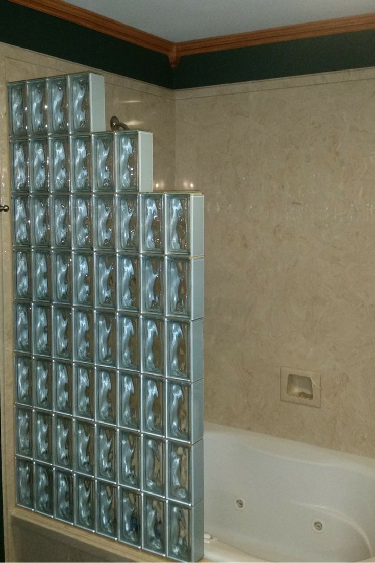 This Glass Block Shower Wall With Finishing Glass Tile