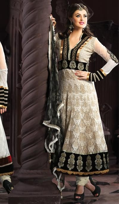 G3 Fashions Off Beige white Jacquard Net Wedding Wear Designer Salwar Suit  Product Code : G3-LSA104928 Price : INR RS 7470