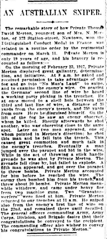 """WWI, 30 May 1917, The Sydney Morning Herald;""""Pt Thomas Merton is only 19 years of age, and won the Distinguised Conduct Medal in France"""""""