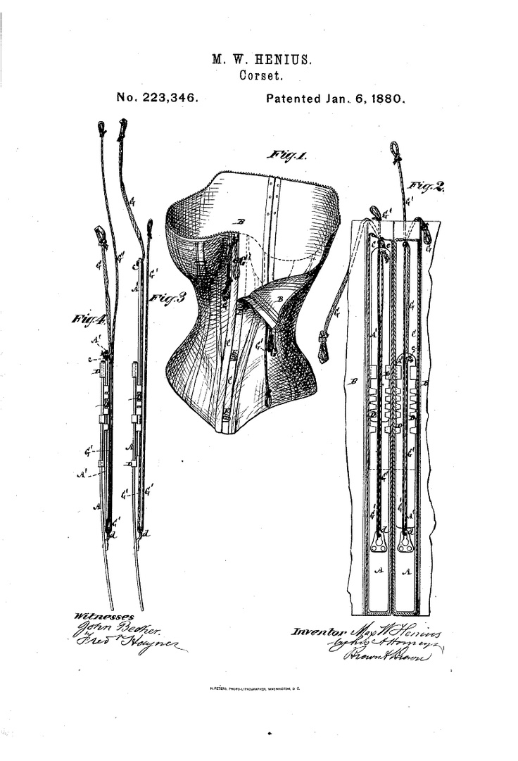 1880 Corset  US patent 223,346  Complicated, likely never produced.