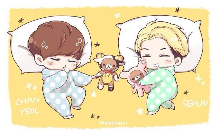 Chibi Chanyeol and chibi Sehun sleeping with toys so cutee >_<