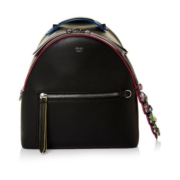 Fendi By The Way mini crystal-embellished backpack (1.559.665 CLP) ❤ liked on Polyvore featuring bags, backpacks, black multi, mini rucksack, genuine leather backpack, fendi bags, leather one shoulder backpack and leather rucksack