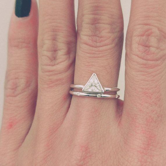 Trillion Diamond Ring Set Thin Diamond Band Simple by JewelryRB
