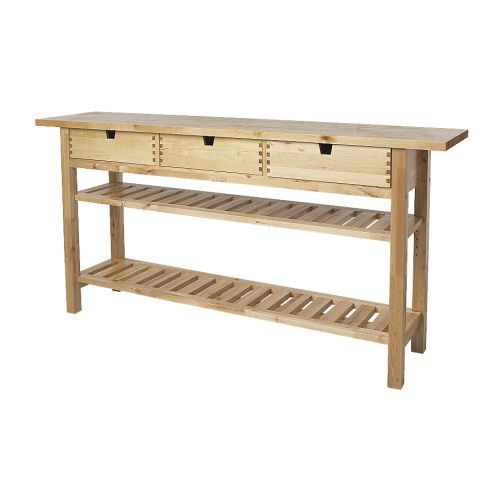 This NORDEN solid birch side table can be used as extra counter space in the kitchen, dining buffet or living room.