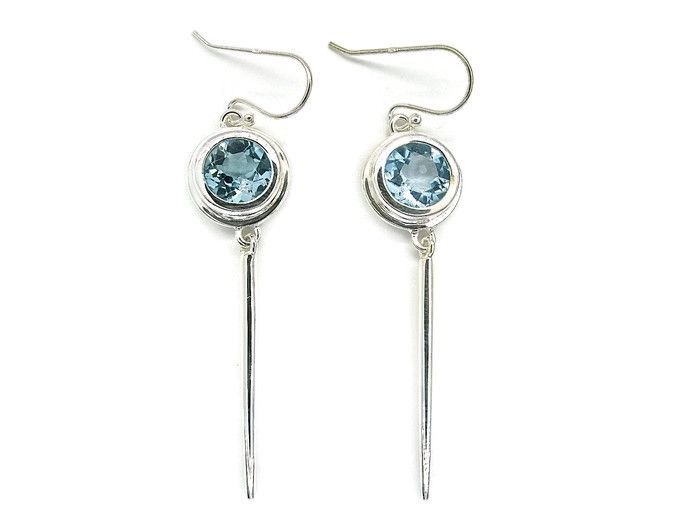 Handmade Earrings in Sterling Silver with Natural Blue Topaz Stones. just one more one off pieces from our extensive collection.
