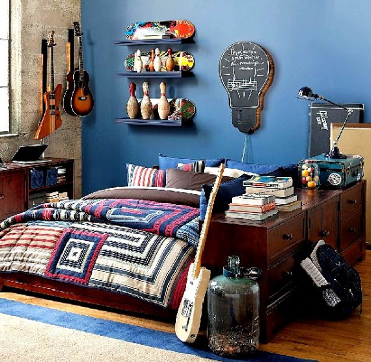 Exciting Teenage Bedroom Ideas For Boys : Exciting Guitars For Teenage Boy  Bedroom Decoration
