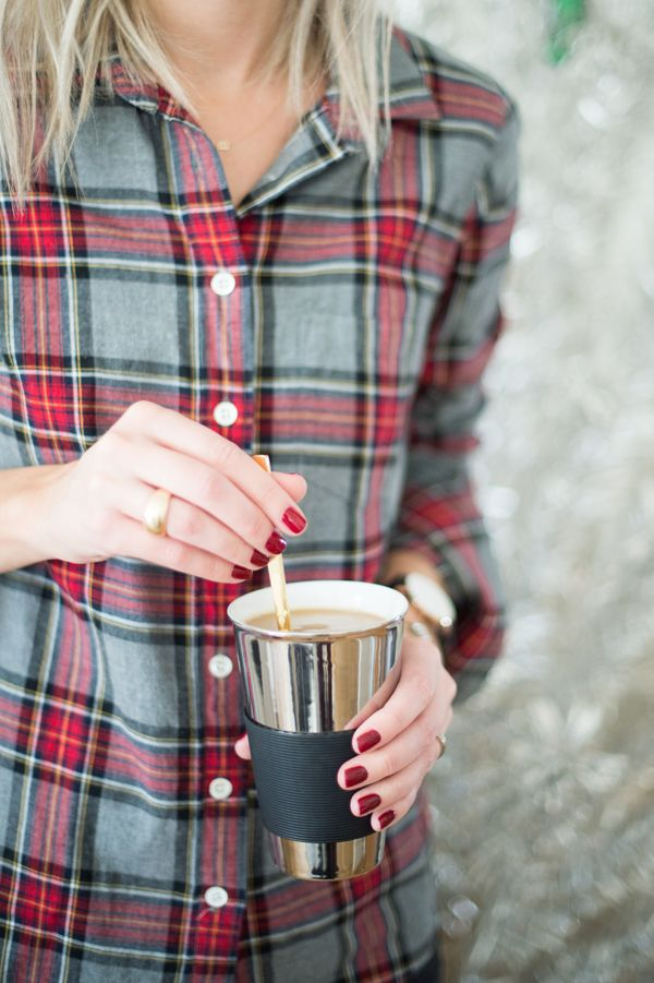 Plaid button up, red nails & coffee--the perfect combo for a festive winter morning.