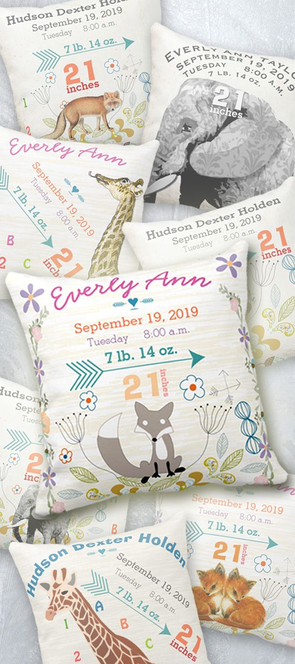 Best 25 safari nursery ideas on pinterest animal nursery lovely keepsake gift for new parents baby birth stats pillow for baby girl or baby negle Choice Image