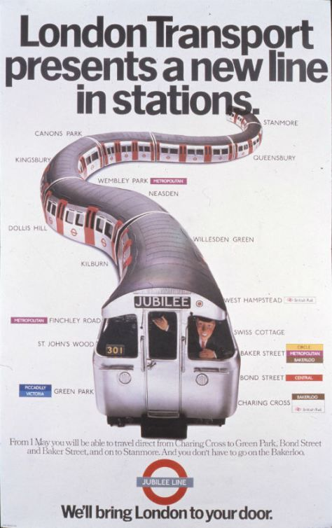 1979 London Transport presents a new line in stations Jubilee Line.