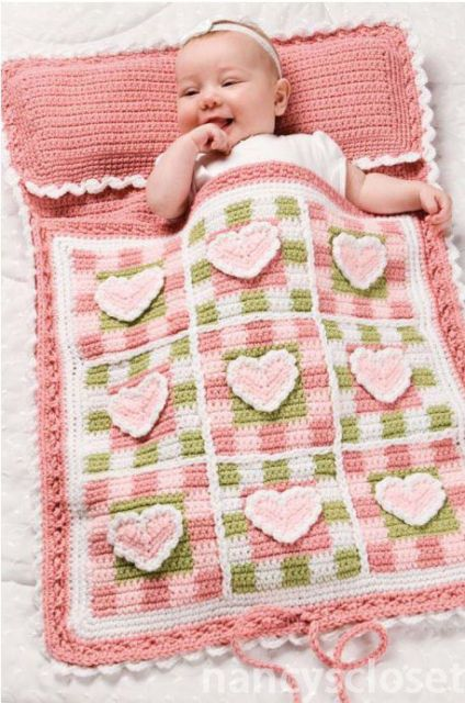 Pretty Hearts Baby Sleeping Bag Crochet Pattern