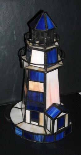 "Decorative Stained Glass Lighthouse Night Light Lamp 9"" Tall & Beautiful! $12.99"