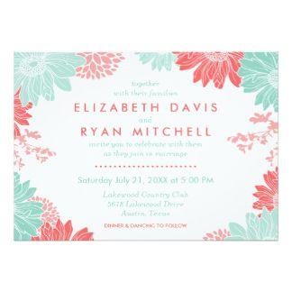 真新しく、珊瑚のモダンな花の結婚式招待状 12.7 X 17.8 インビテーションカード
